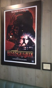 De Film poster van Star Wars deel 6 Revenge of the Jedi. Later werd deze titel veranderd in Return of the Jedi